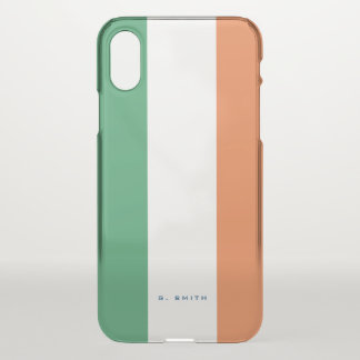 Monogram. Colors of Ireland Flag. iPhone X Case