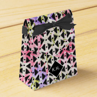 Monogram colourful criss cross weave pink black party favour boxes