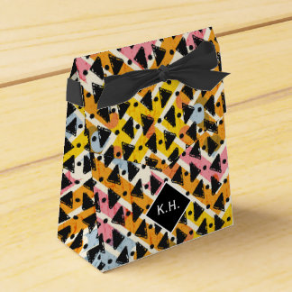 Monogram colourful criss cross weave yellow black party favour boxes