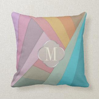 Monogram colourful stripe throw pillow