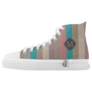 Monogram colourful striped high tops