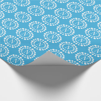Monogram Cool Blue Wrapping Paper