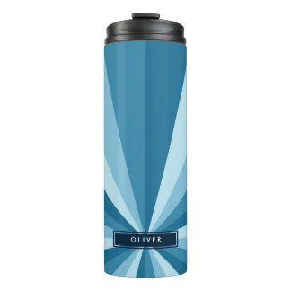 Monogram Cool Shades of Blue Color Wheel Pattern Thermal Tumbler