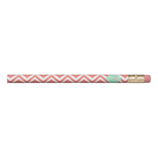 Monogram Coral and White Chevron with Mint Green Pencil