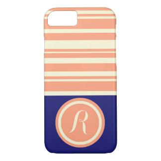 Monogram Coral Blue Striped iPhone 7 Case