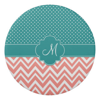 Monogram Coral Chevron with Teal Polka Dot Pattern Eraser