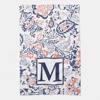 Monogram Coral Navy Peach Vintage Floral Pattern Tea Towel