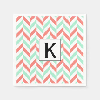Monogram Coral Pink and Mint Green Herringbone Disposable Serviettes