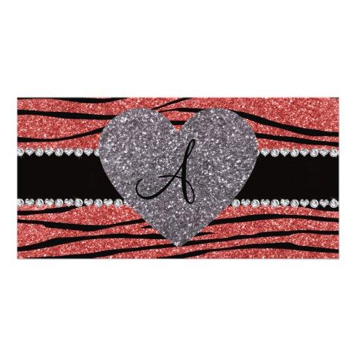 Monogram coral pink glitter zebra stripes heart custom photo card