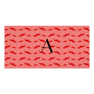 Monogram coral pink mustache pattern customized photo card