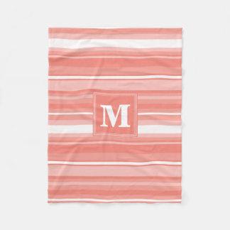 Monogram coral stripes fleece blanket