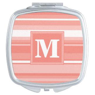 Monogram coral stripes makeup mirrors