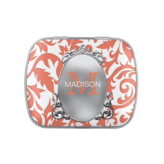 Monogram Coral Wedding Jelly Belly Candy Tin
