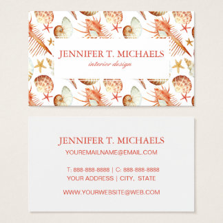 Monogram Coral With Shells And Crabs Pattern Business Card
