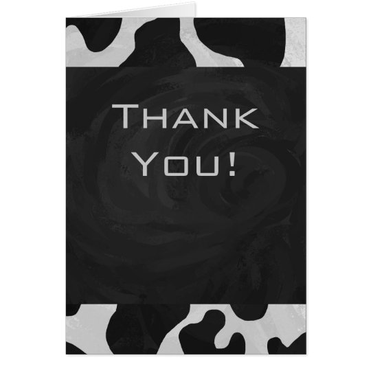 Monogram Cow Black and White Card