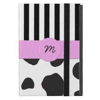 Monogram - Cow Print, Stripes - Black White Pink Cases For iPad Mini
