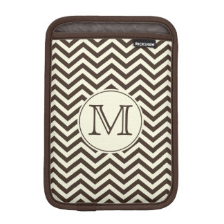 Monogram Cream and Brown Chevron Sleeve For iPad Mini