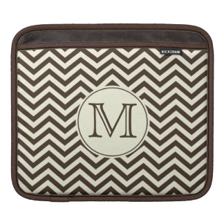 Monogram Cream and Brown Chevron Sleeves For iPads