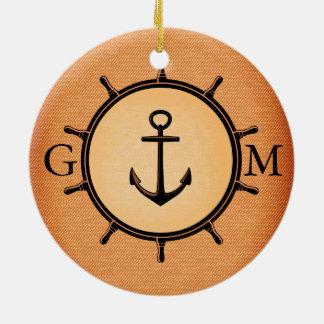 Monogram Custom Brass Nautical Wheel and Anchor Ceramic Ornament