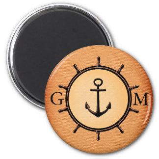 Monogram Custom Brass Nautical Wheel and Anchor Magnet