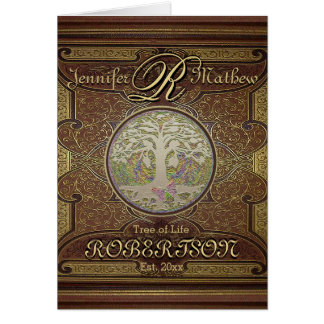 Monogram Custom Family Tree Anniversary Greeting Card