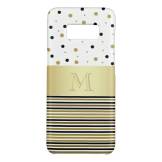 Monogram Custom Golden Dots & Stripes Shiny Chic Case-Mate Samsung Galaxy S8 Case
