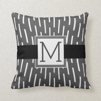 monogram custom pillow modern grey and white