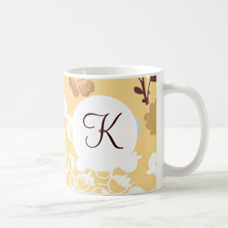 Monogram Custom Printed Coffee Mug Floral Pattern