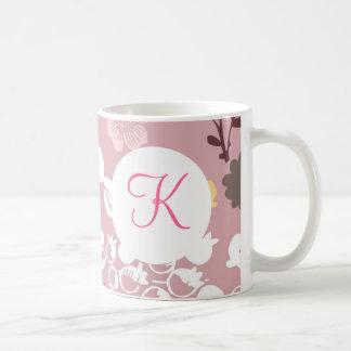 Monogram Custom Printed Coffee Mug Pink Flowers