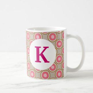 Monogram Custom Printed Coffee Mug Pretty Circles
