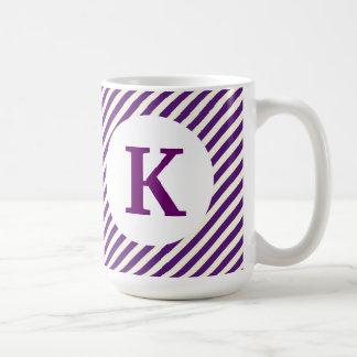 Monogram Custom Printed Coffee Mug Purple Stripes