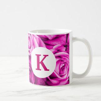 Monogram Custom Printed Coffee Mug Roses