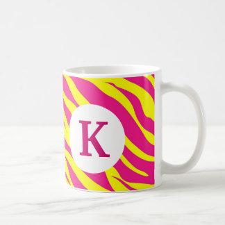 Monogram Custom Printed Coffee Pink Zebra Stripes Coffee Mug