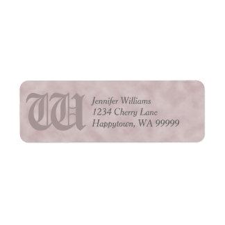 Monogram Custom Rose-Pink Parchment Return Address Return Address Label