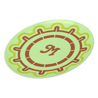 Monogram customizable steering wheel design green party plate