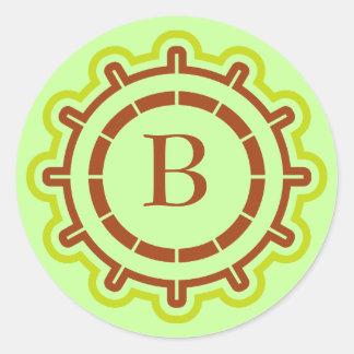 Monogram customizable steering wheel design green round sticker
