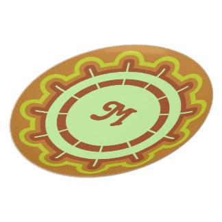 Monogram customizable steering wheel design orange dinner plate