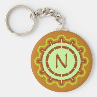 Monogram customizable steering wheel design orange key chain