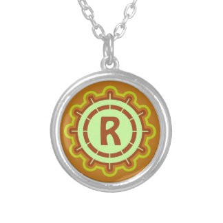 Monogram customizable steering wheel design orange custom necklace