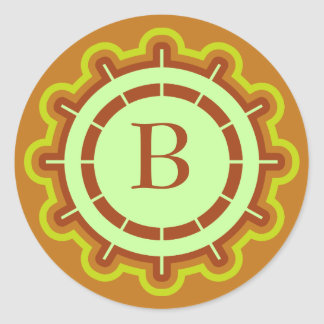 Monogram customizable steering wheel design orange round sticker