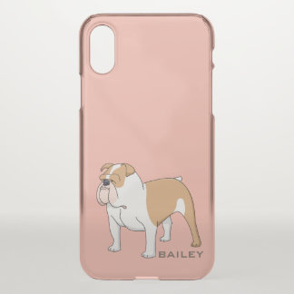 Monogram. Cute and Funny Bulldog. iPhone X Case