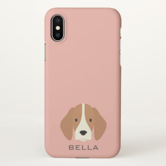 Monogram. Cute Beagle Hound Puppy Dog. iPhone X Case