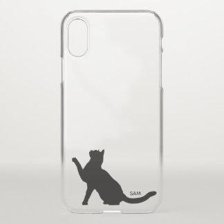Monogram. Cute Black Cat Silhouette Eyeing Camera iPhone X Case