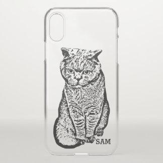 Monogram. Cute Black Hand Drawn Cat. iPhone X Case