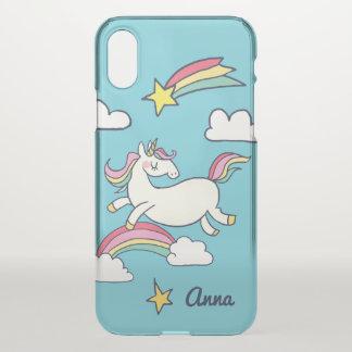 Monogram. Cute Doodle Rainbow Unicorn Stars Clouds iPhone X Case