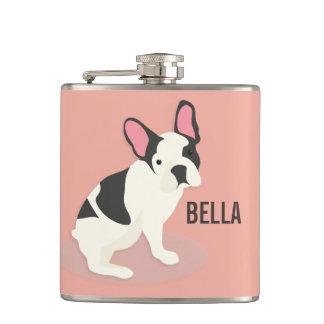 Monogram. Cute French Bulldog. Hip Flask