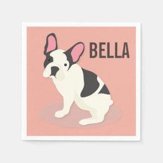 Monogram. Cute French Bulldog. Paper Napkin