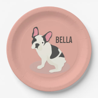 Monogram. Cute French Bulldog. Paper Plate