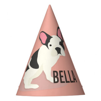 Monogram. Cute French Bulldog. Party Hat