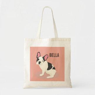 Monogram. Cute French Bulldog. Tote Bag